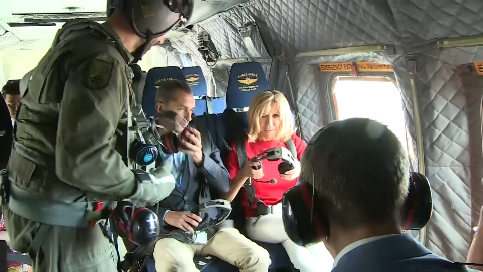 Partners of the G7 leaders take to the skies to tour the region
