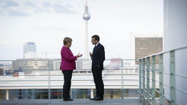 Emmanuel Macron, Angela Merkel React to Meeting with Trump