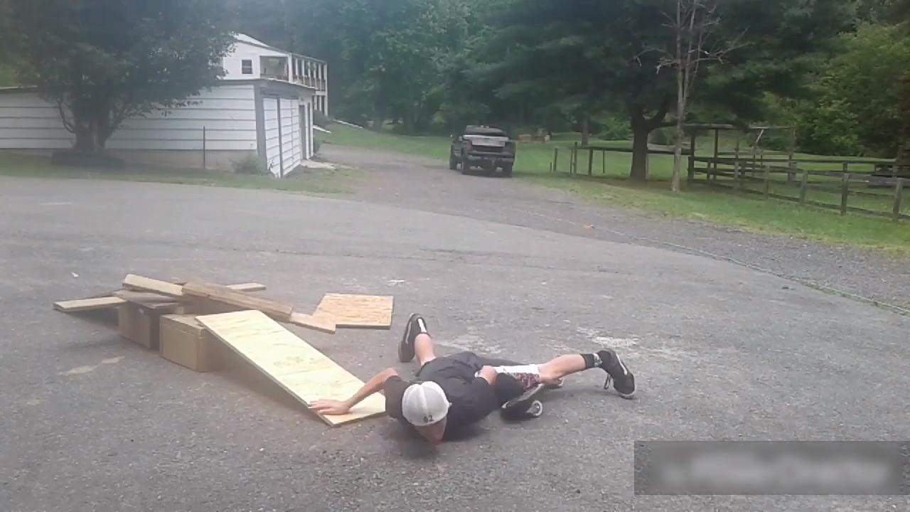 Skateboarder Shows Off Failed Attempts