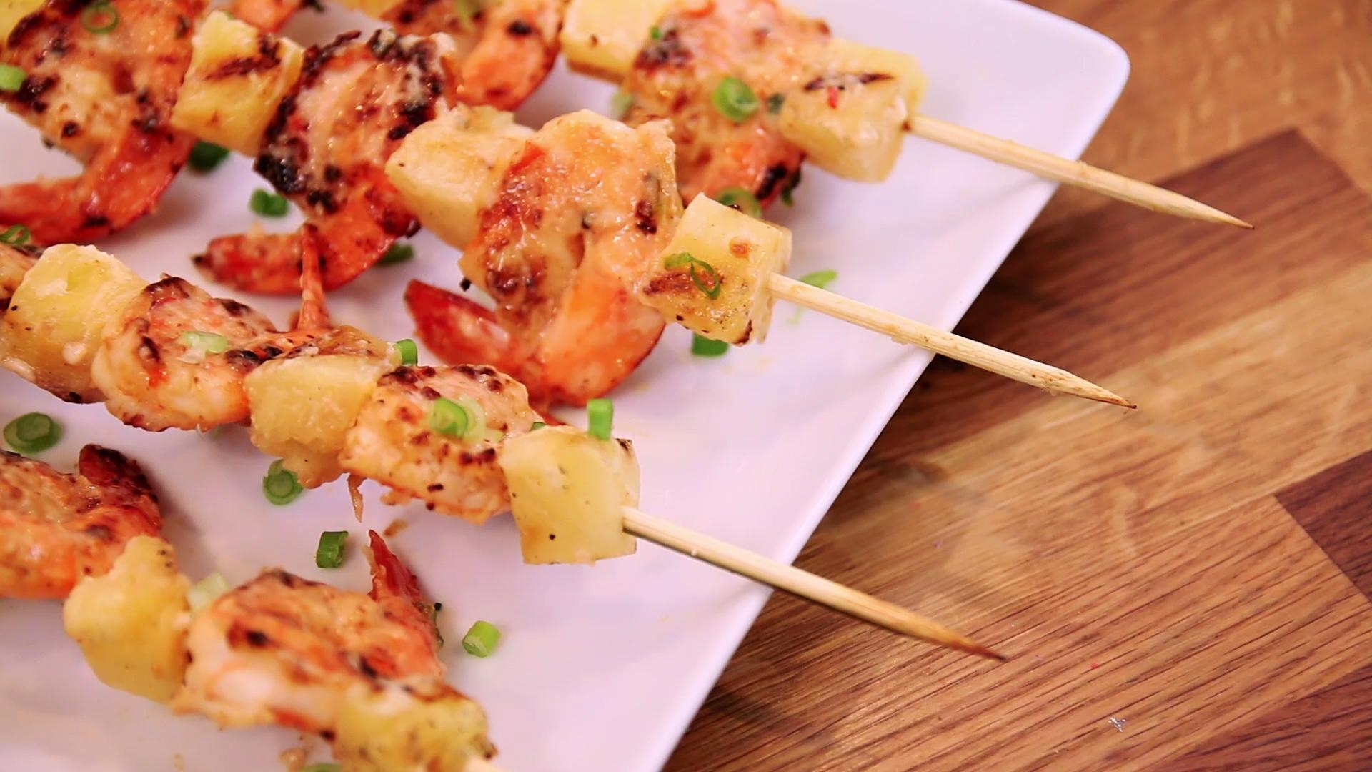 These Piña Colada Shrimp Skewers are Summer on a Stick