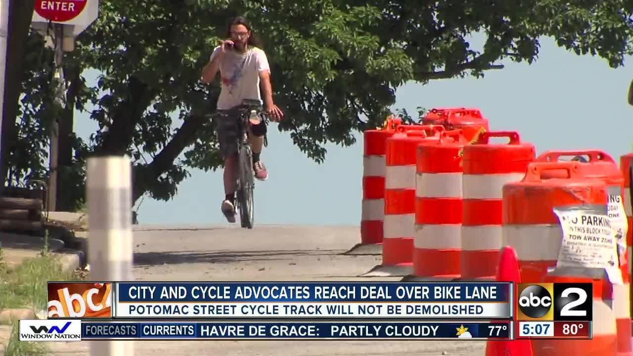 Baltimore City and BikeMore reach deal to keep bike lanes along Potomac Street