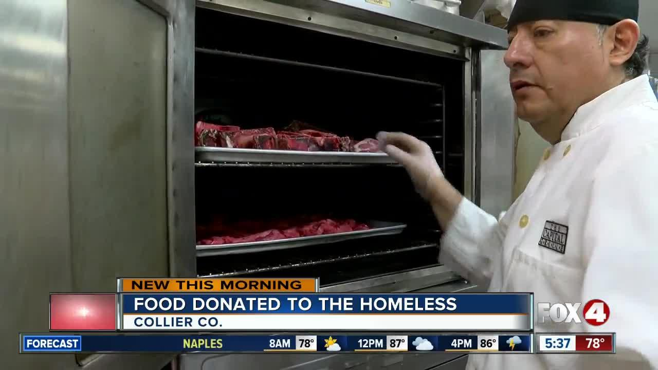 Food donated to the homeless