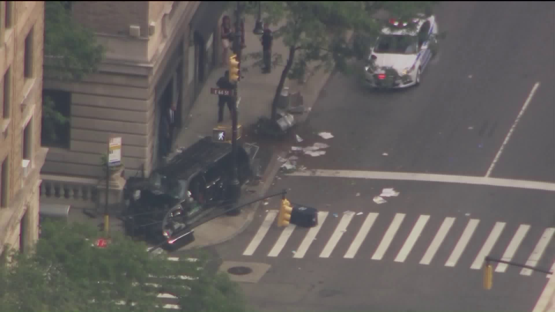 3 Injured When SUV Jumps Curb, Slams into Building in New York City