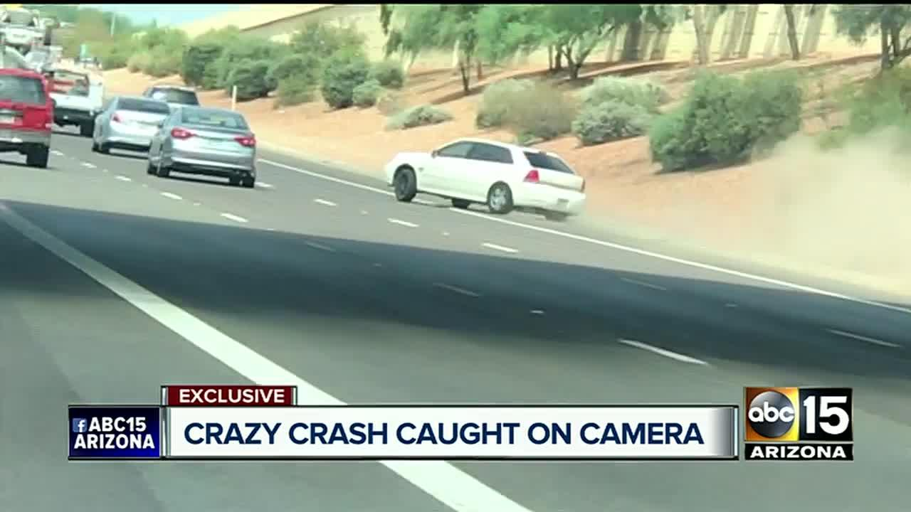 Crazy video: Car travels through freeway lanes, crashing into 2 others