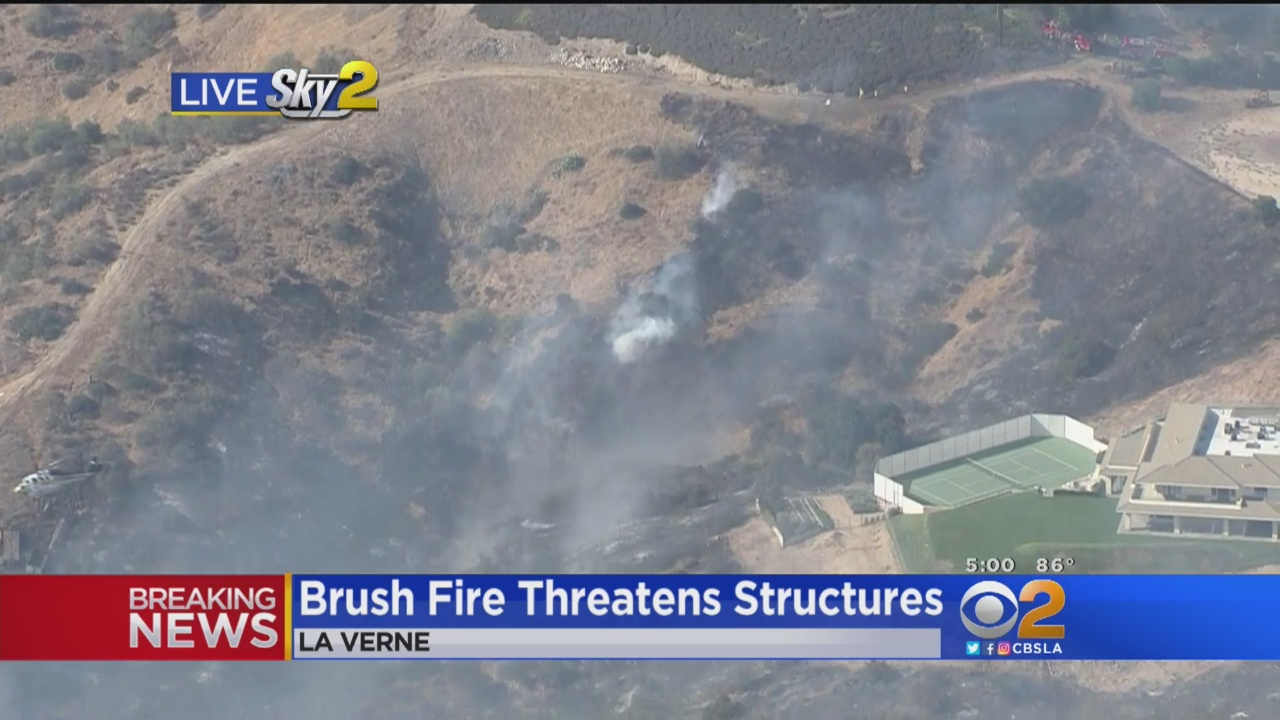 Brush Fire Threatens Homes In La Verne