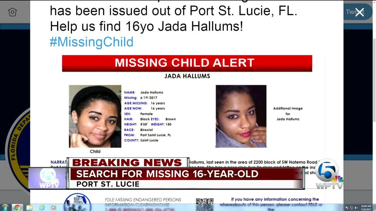 Jada Hallums: 16-year-old girl missing in Port St. Lucie