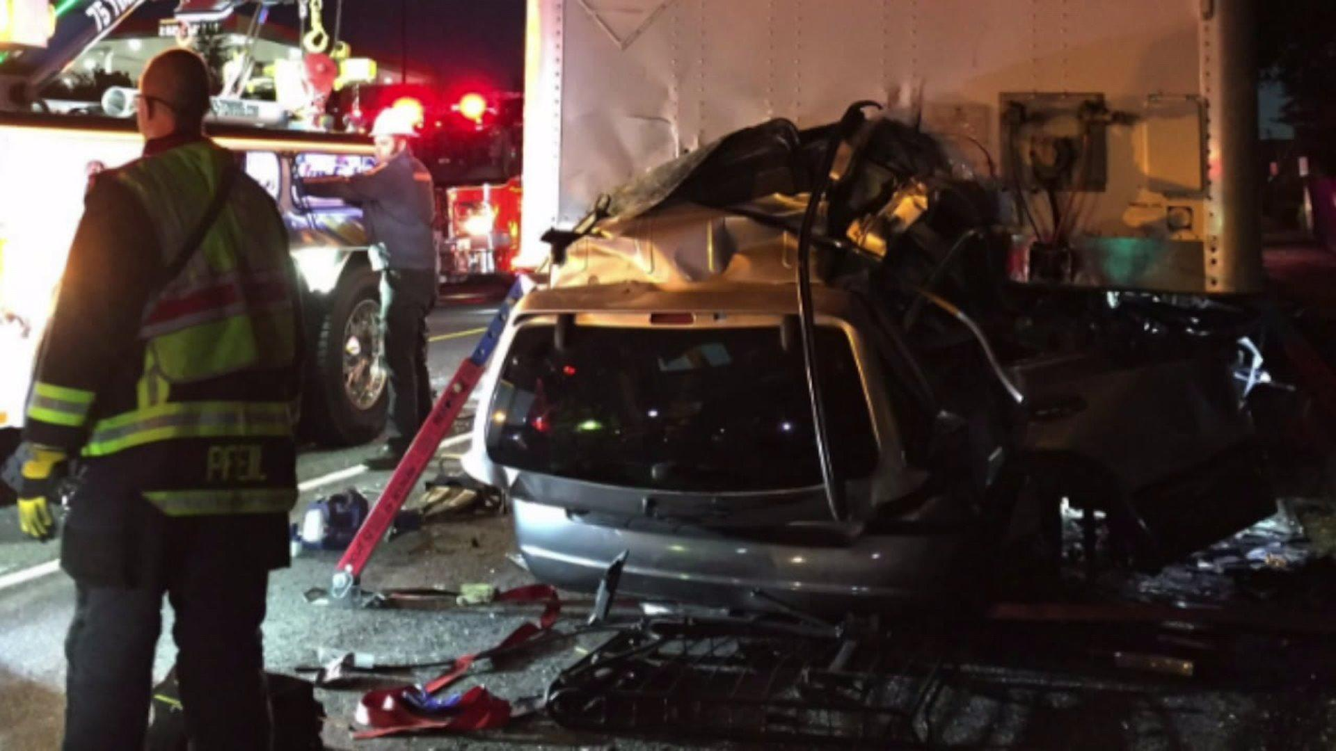 Three People Killed, One Injured After Car Crashes Into Parked Semi-Trailer