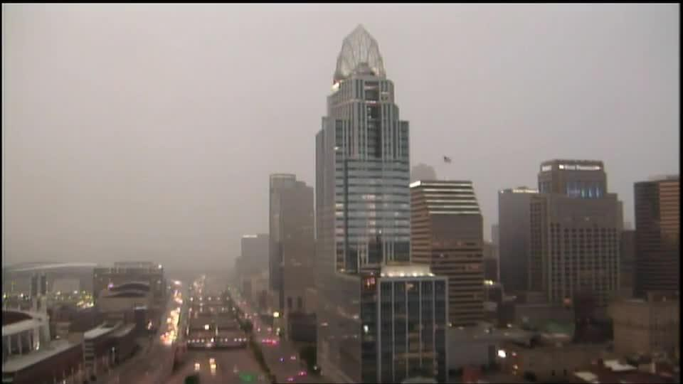 Watch this wall of water roll through downtown Cincinnati