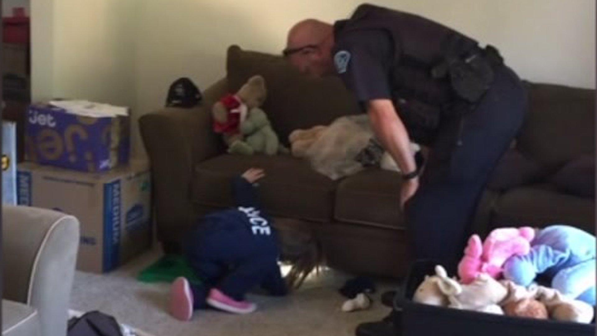 Officer Goes Above and Beyond to Help 4-Year-Old Girl Hunt for Monsters