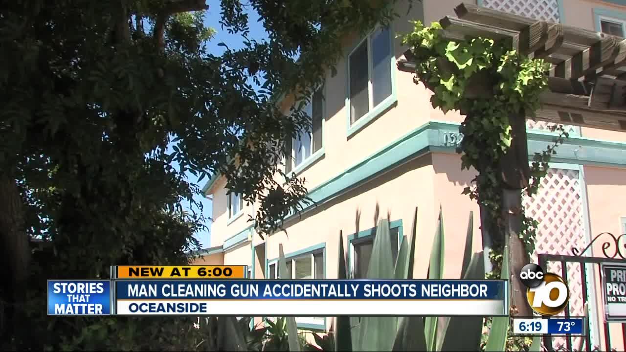 Oceanside man cleaning gun shoots woman
