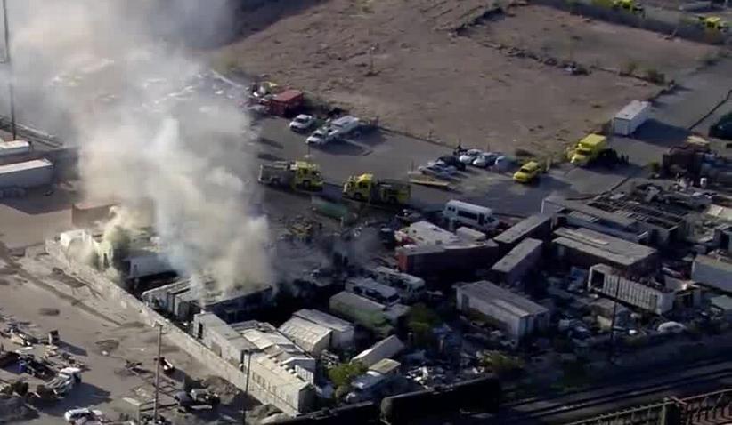 Crews battle 2-alarm fire; police investigate shopping center shooting