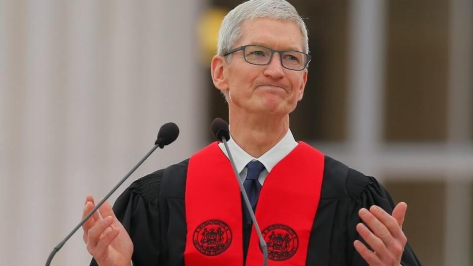 Apple CEO takes bite at Trump