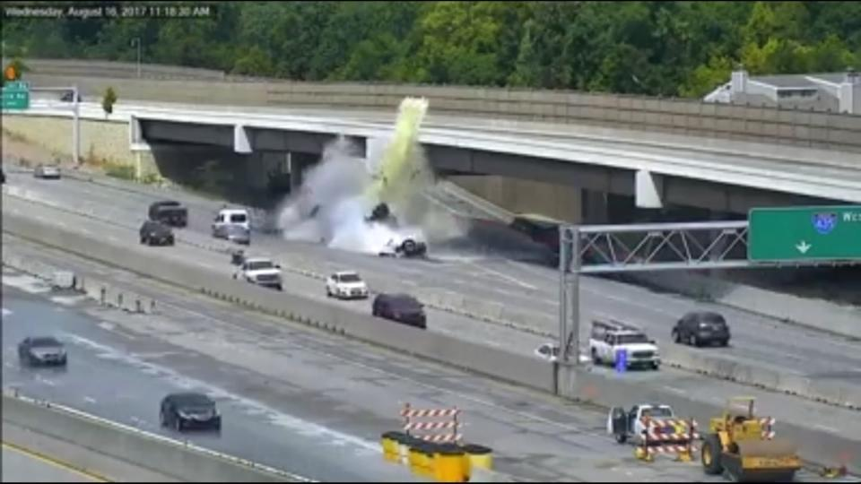 Fiery truck crash caught on camera