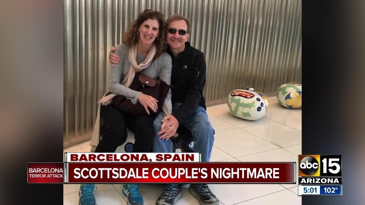 Couple in Barcelona celebrating wedding anniversary