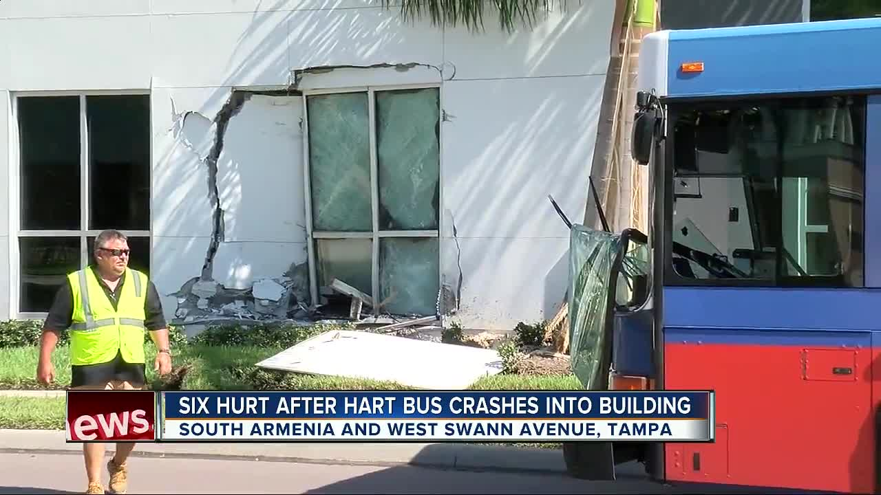 City bus crashes into building in Tampa