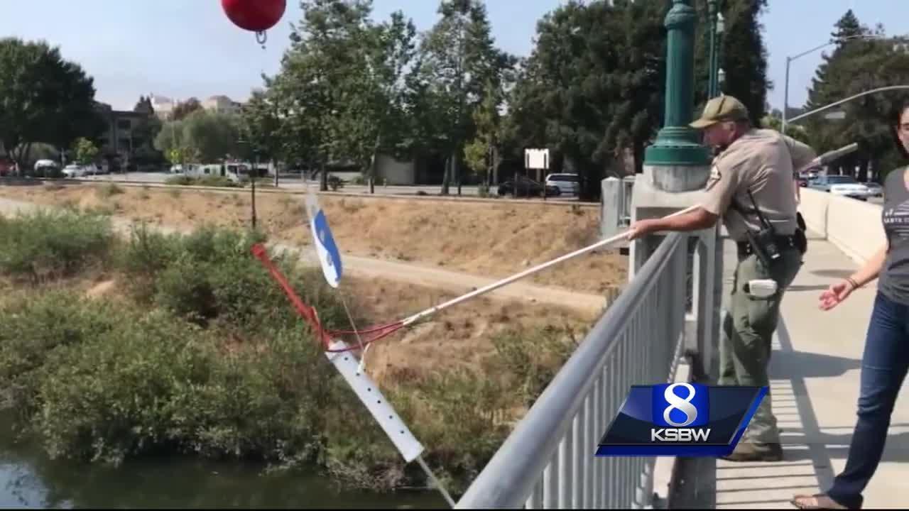 Giant drug needles appear in Santa Cruz along San Lorenzo River