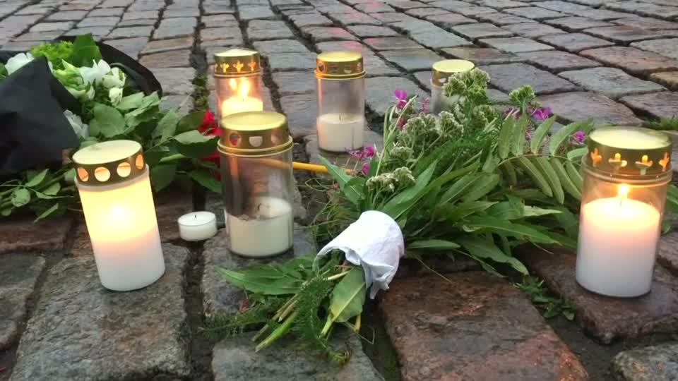 Candles, flowers at Finland stabbing attack scene