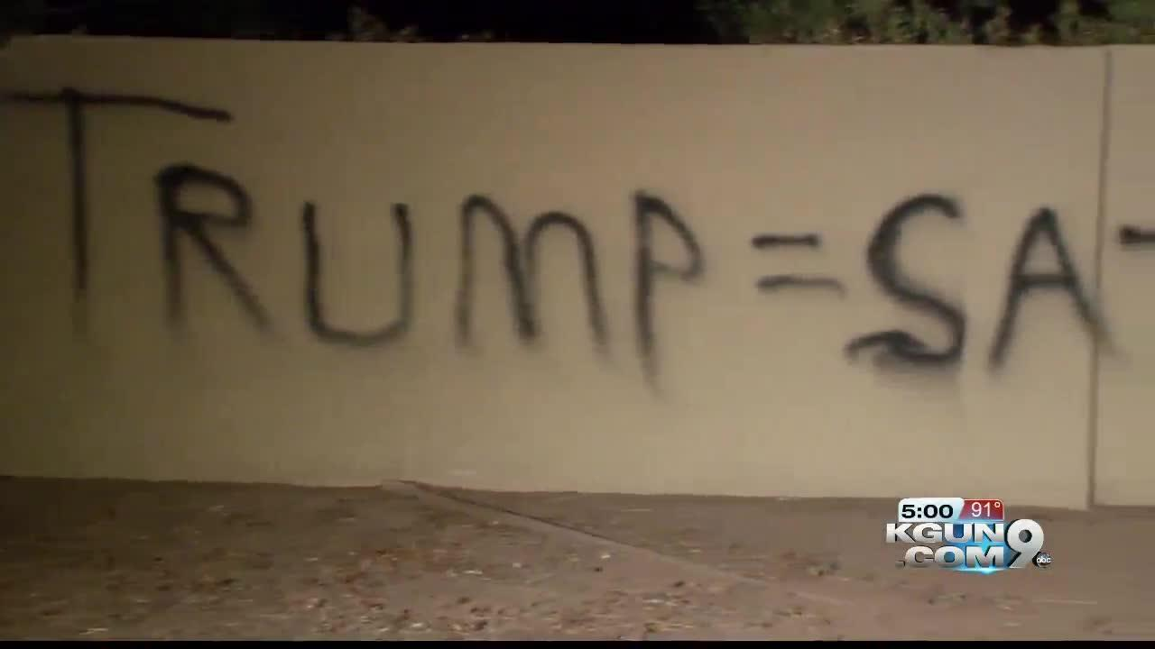 "Spray painted wall in Phoenix reads ""Trump = Satan"""