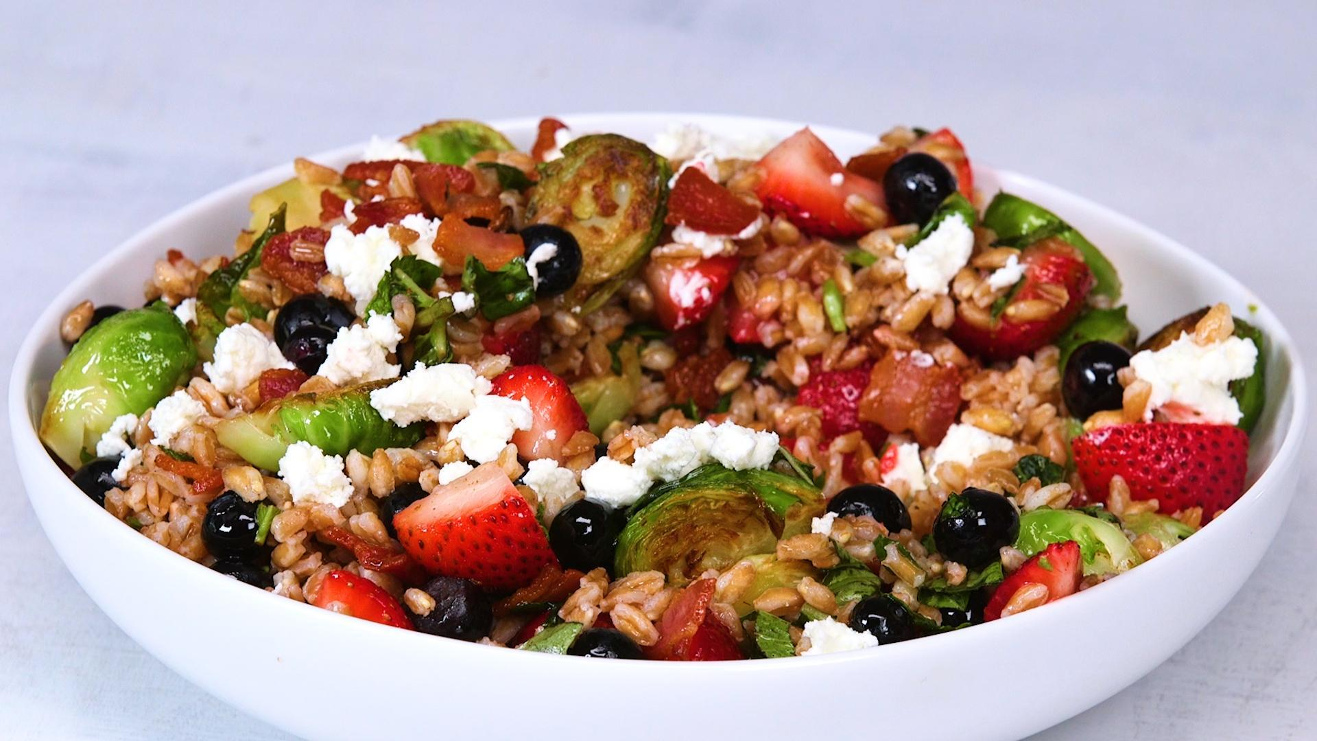 How to Make Farro Salad with Brussels Sprouts, Bacon and Berries