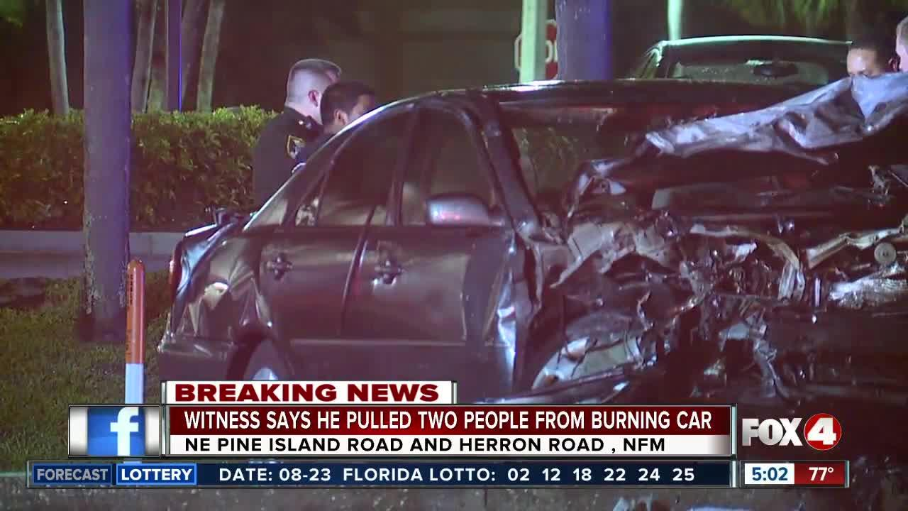 Witness saved people from burning car, following crash