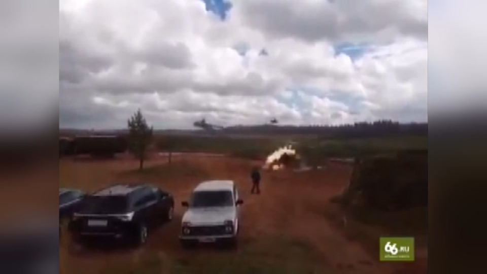 Helicopter mistakenly fires on parked vehicles in Russian war games