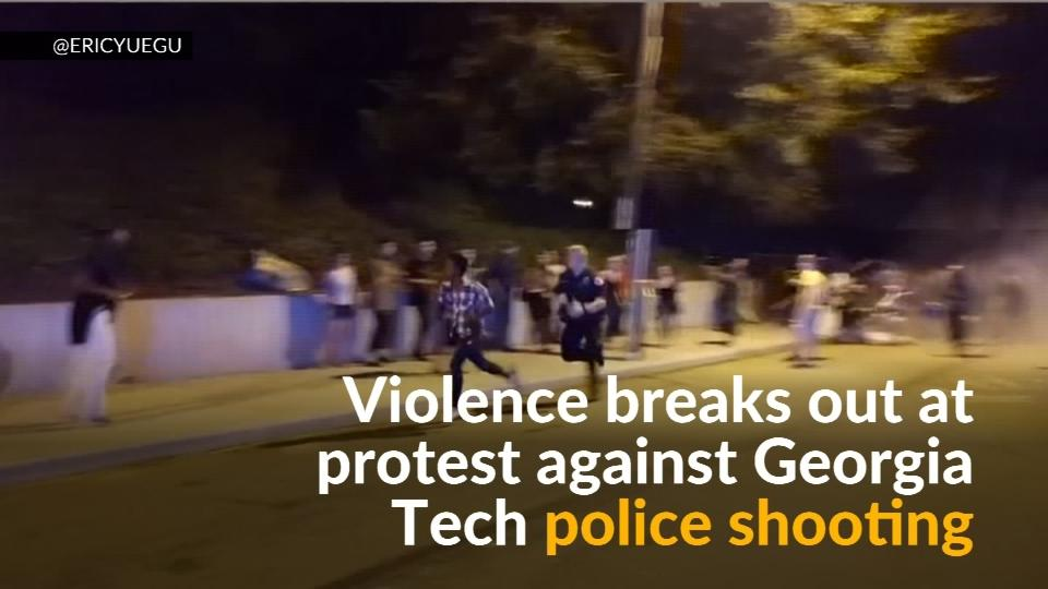 Violence breaks out at protest over Georgia Tech police shooting