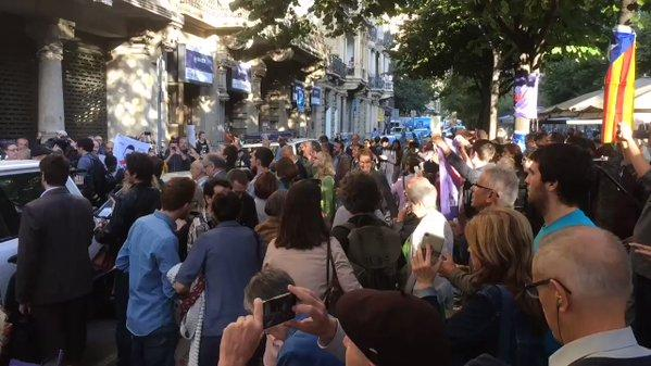 Crowd Gathers After Police Enter Catalan Government Building
