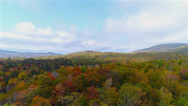 Spectacular Aerial View of Vermont Fall Foliage