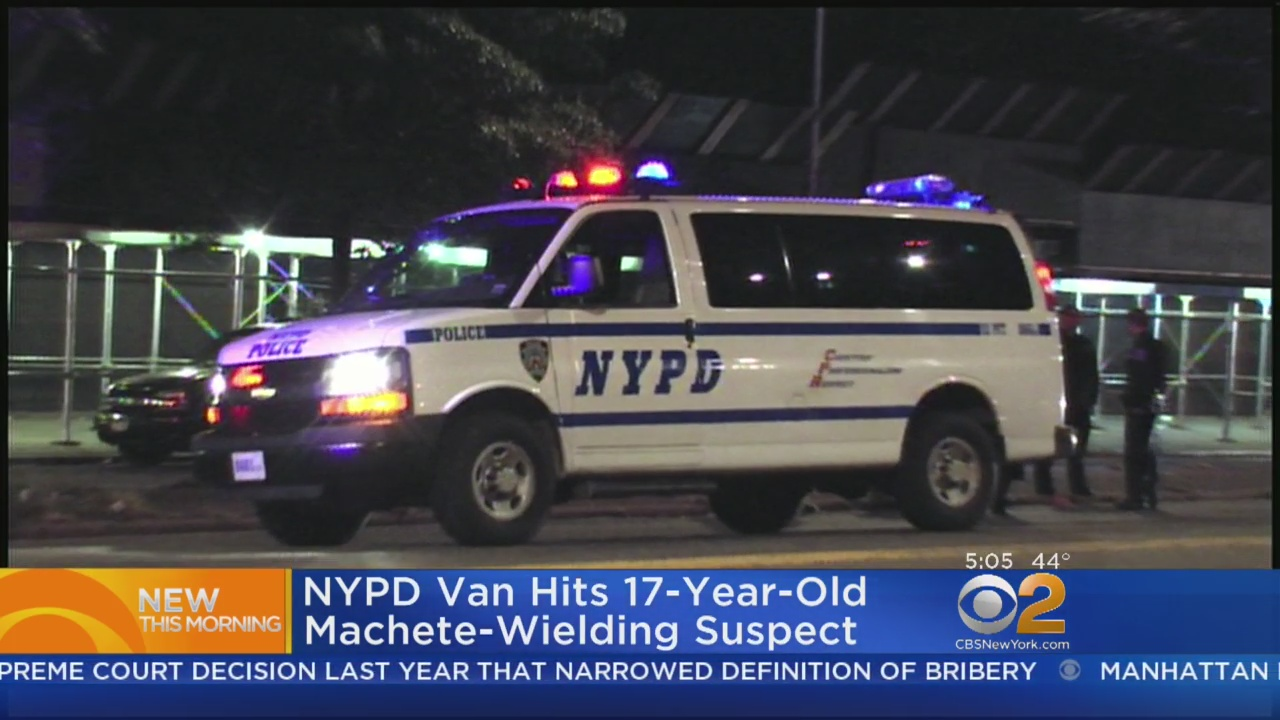 NYPD Van Hits 17-Year-Old Machete-Wielding Suspect