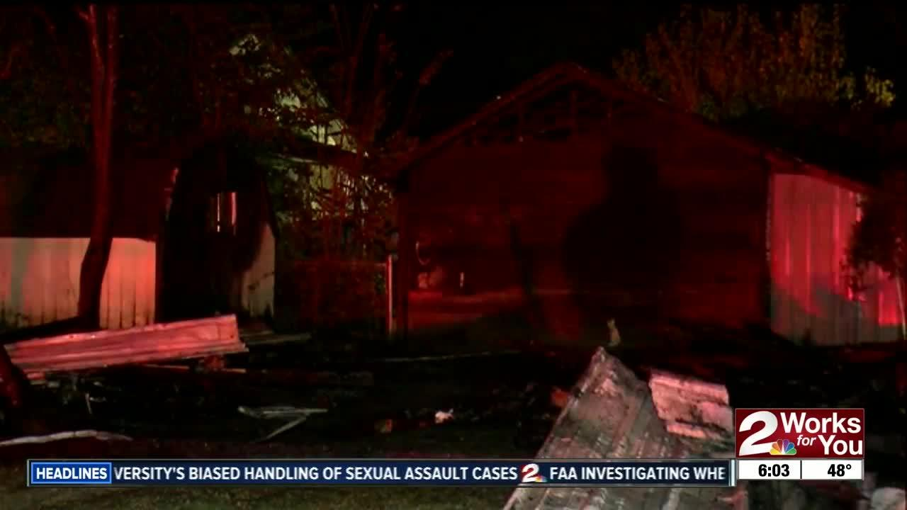 Tulsa Firefighters battle overnight garage fire