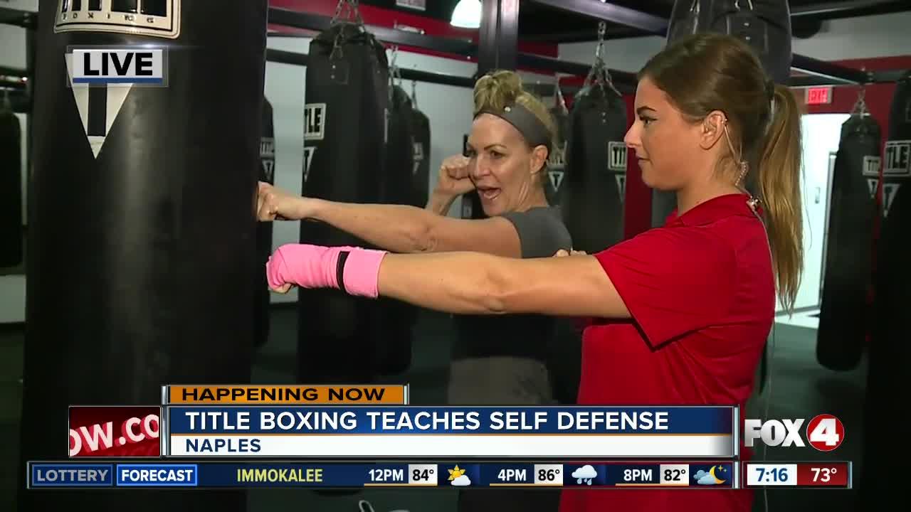Title Boxing teaches self defense class