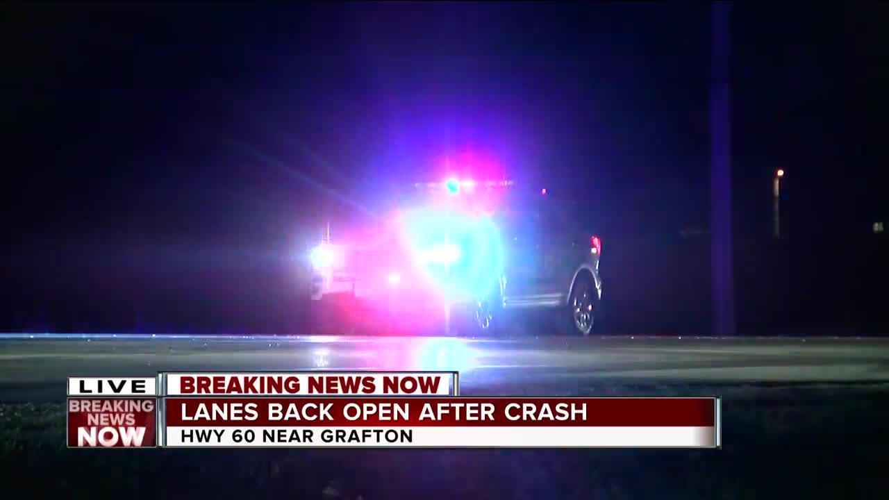 Highway 60 shut down in Grafton after crash