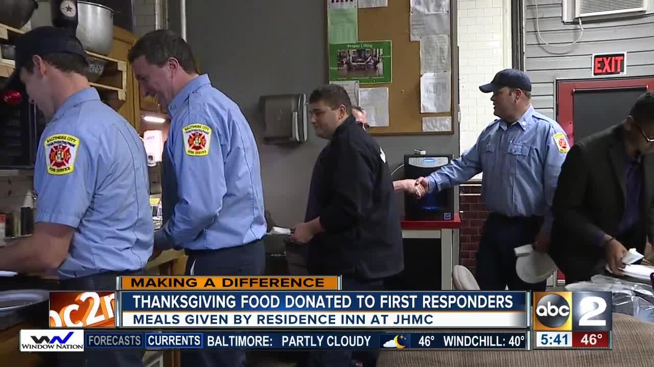 Hotel prepares and delivers a Thanksgiving meal to first responders in Baltimore