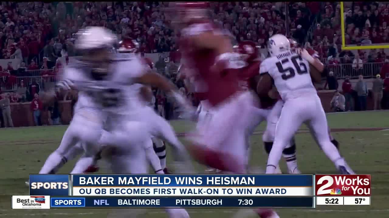 Baker Mayfield reacts to winning Heisman Trophy