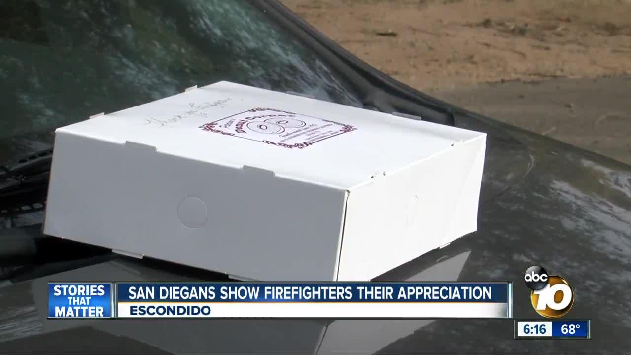 San Diegans show firefighters appreciation