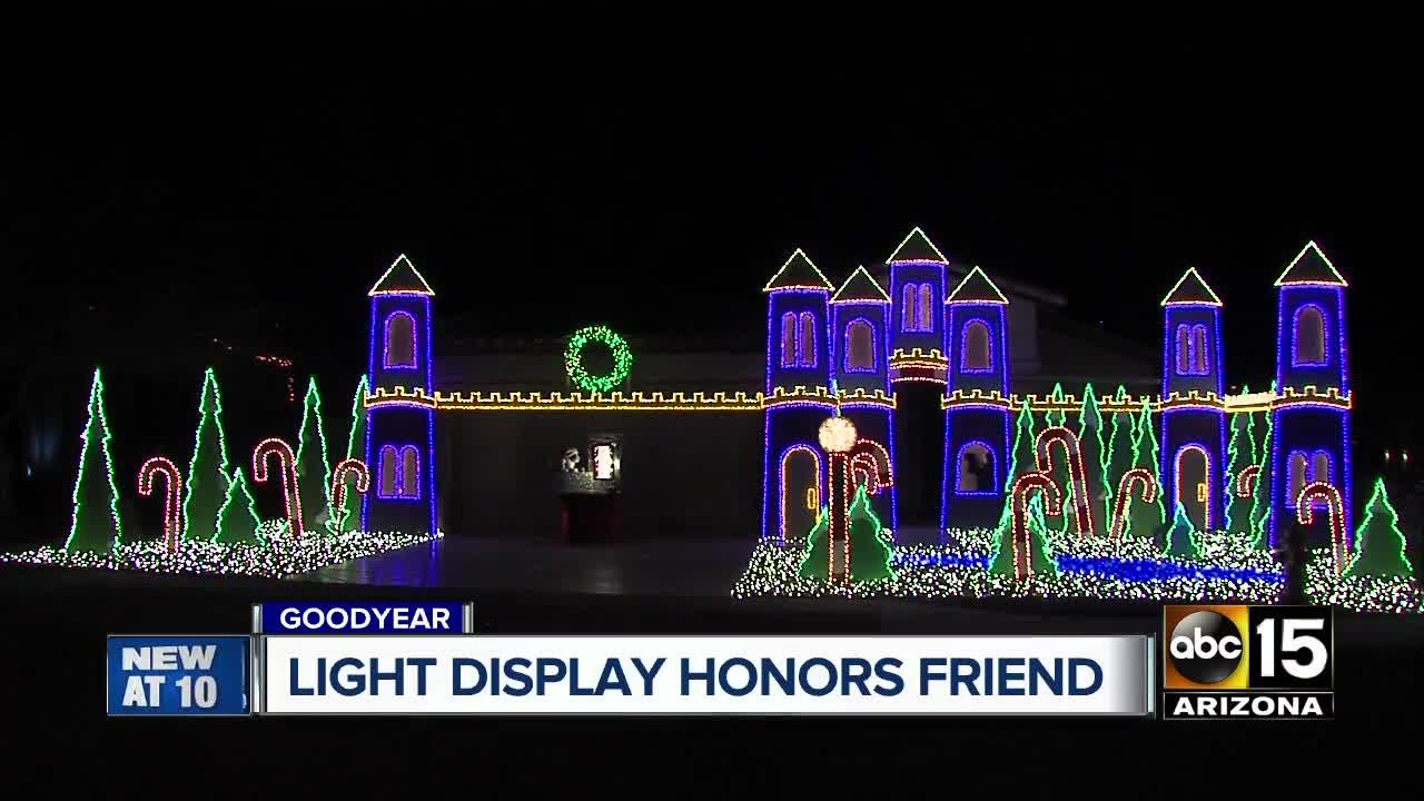 Goodyear man honors friend with Christmas light display
