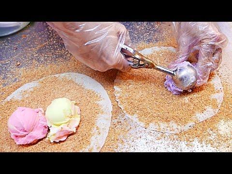 Taiwan Street Food Vendor Whips Up Delicious Ice-Cream Burrito