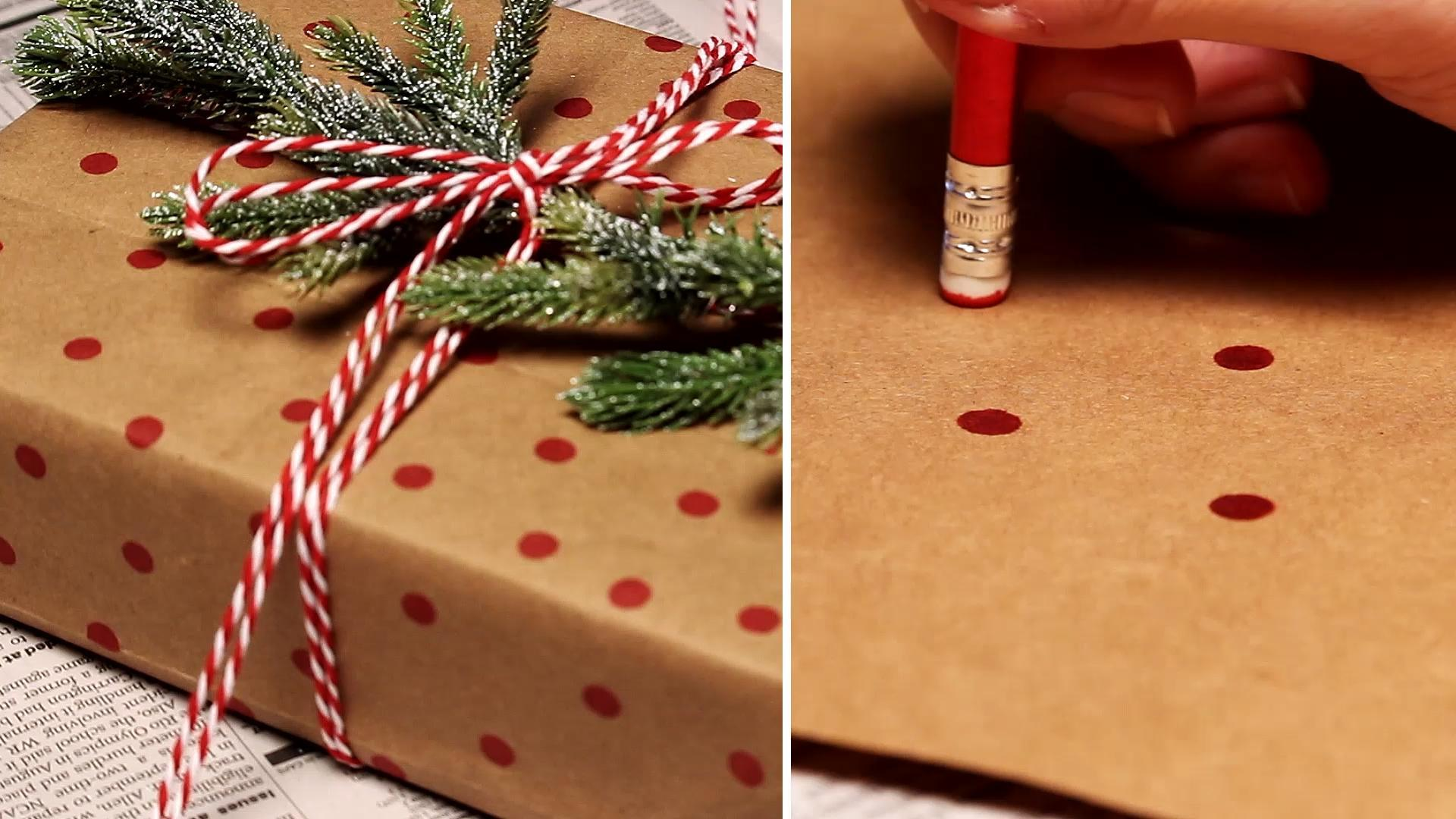 Polka Dot Gift Wrap Made From a Brown Paper Bag