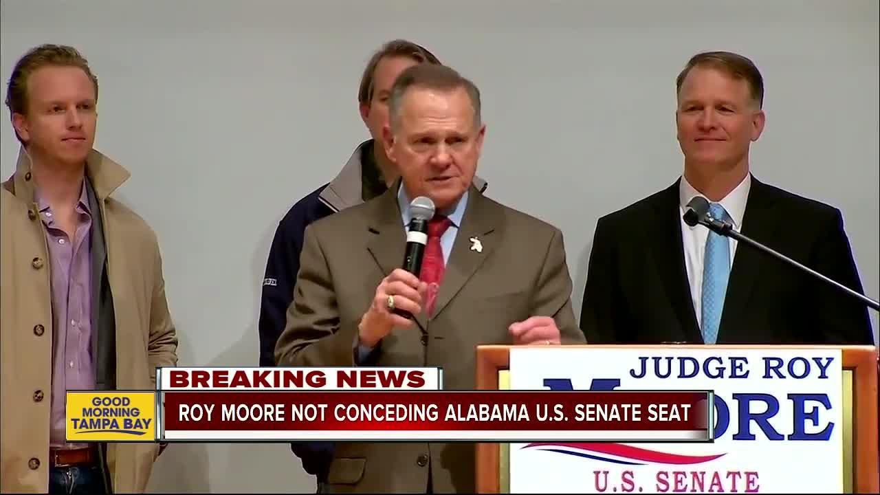 Roy Moore not conceding US Senate race, hints at recount