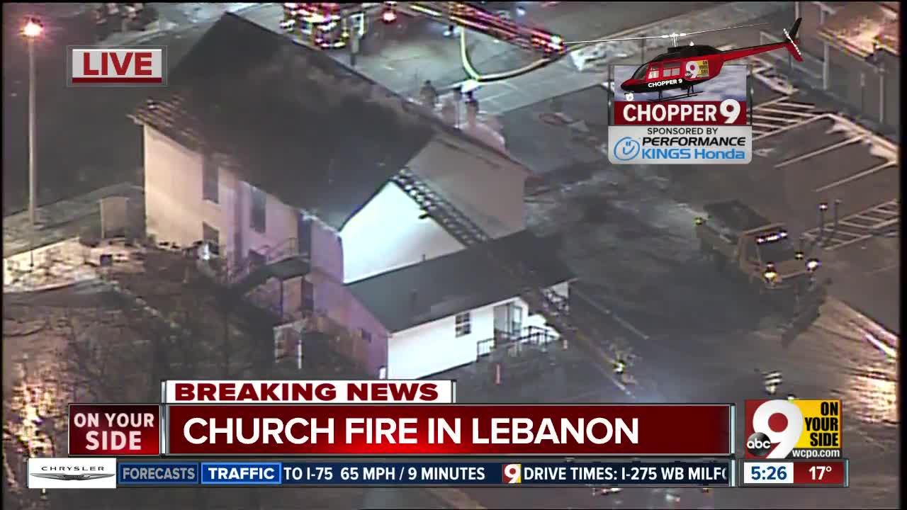 Aerial look: Firefighters battle bitter cold in Lebanon church fire