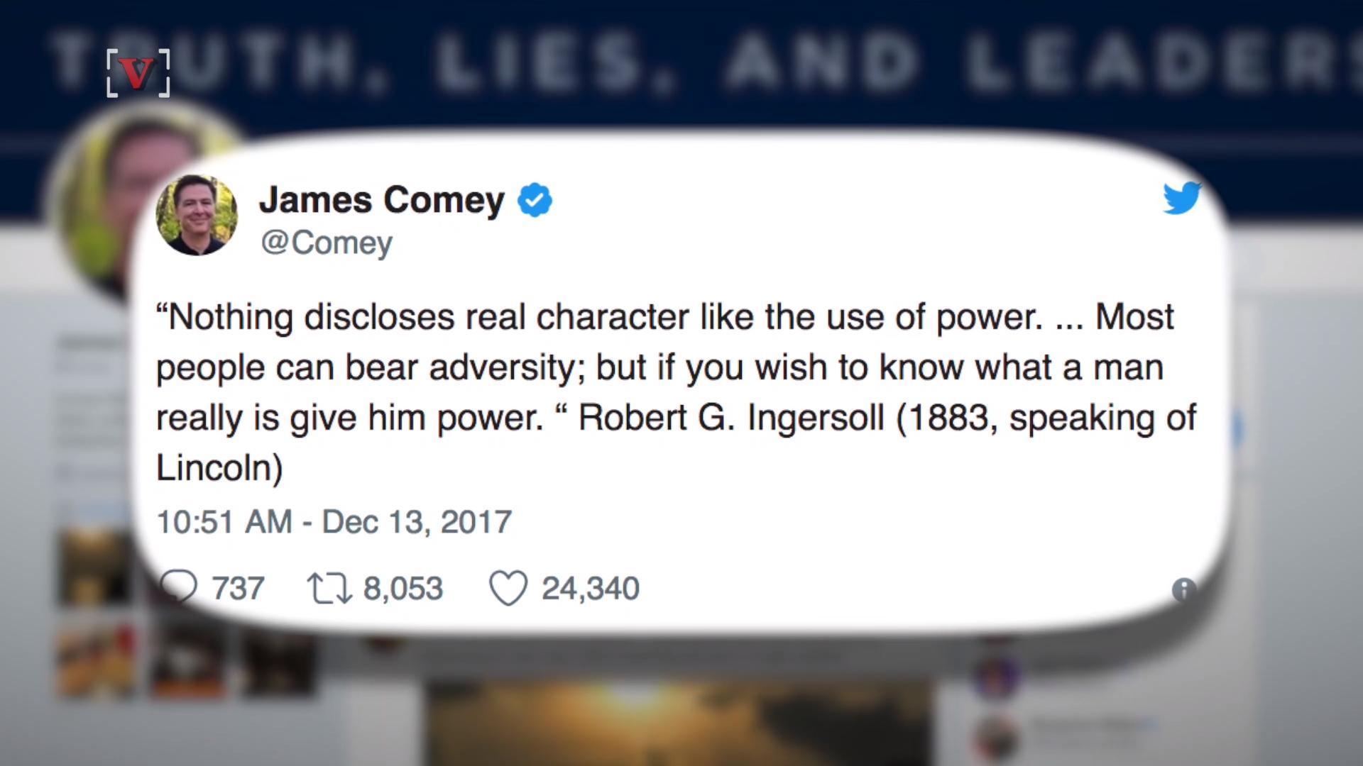 James Comey Sends Cryptic Tweet Over 'Character' of Leaders