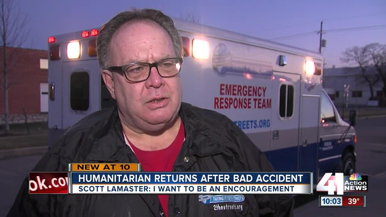 Humanitarian returns weeks after bad accident