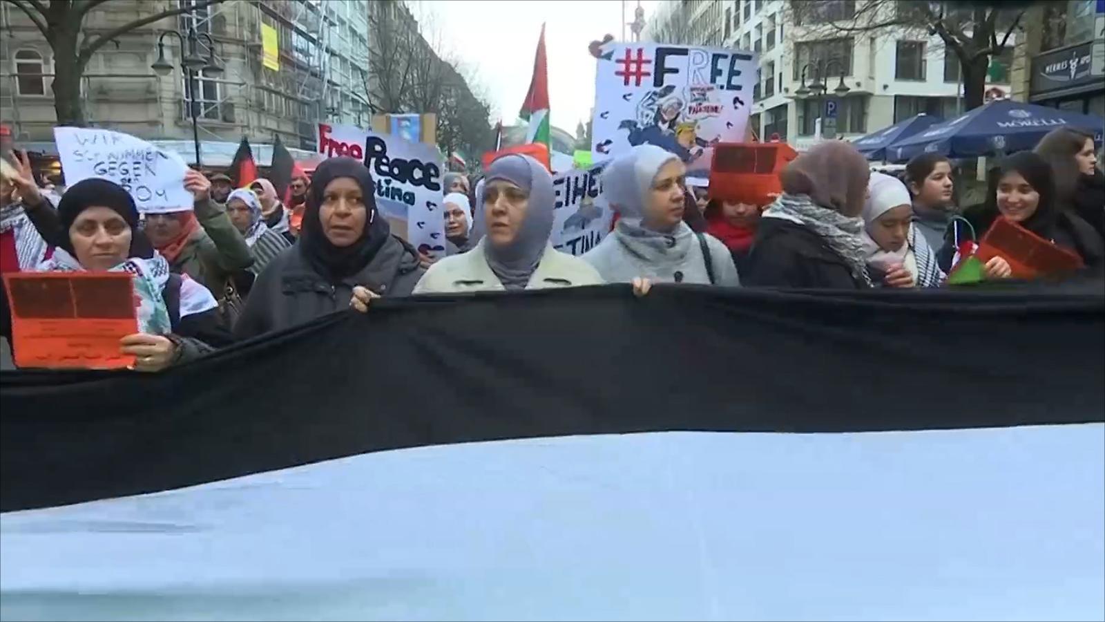 استمرار المظاهرات بمدن عربية وغربية تنديدا بقرار ترمب