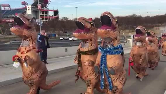 Christmas T-Rex Stampede Takes Over Nashville