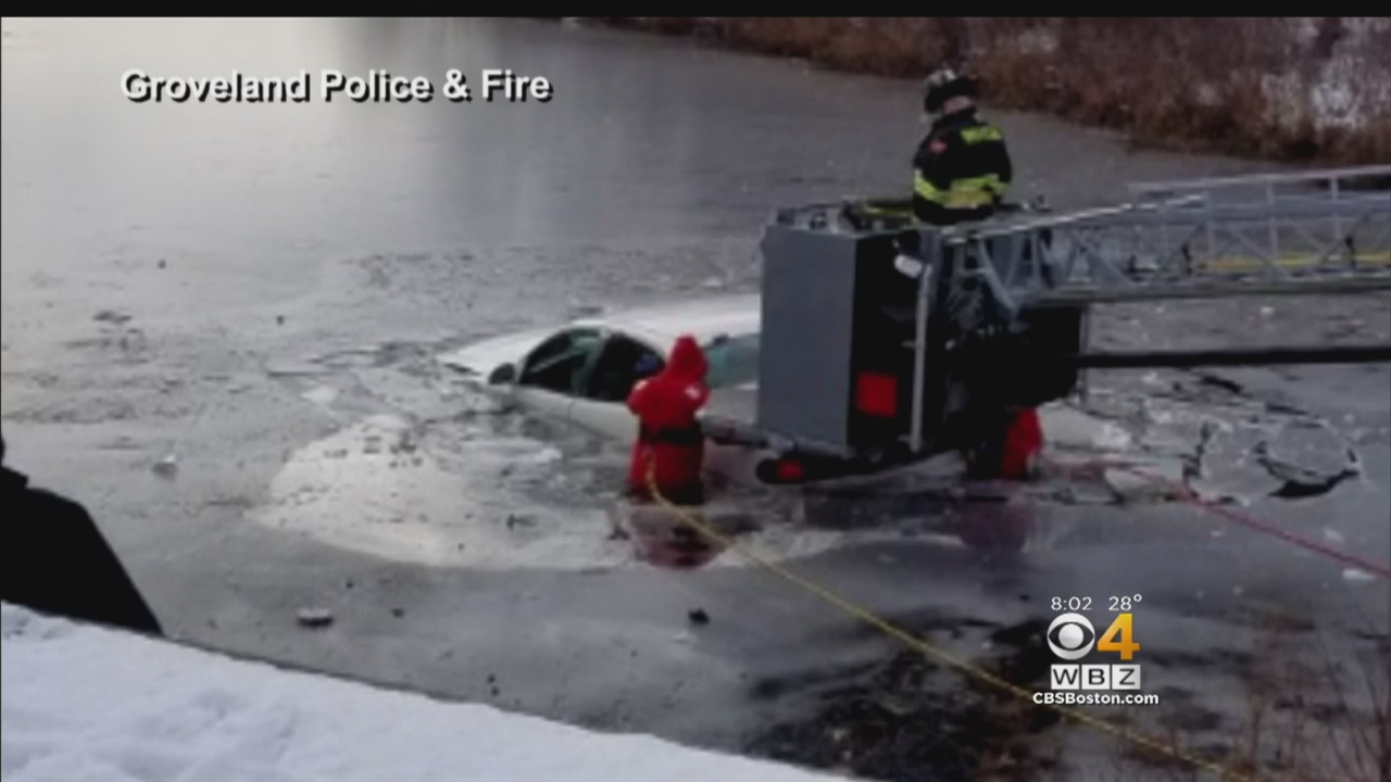 Woman Rescued From Car After Plunging Into Icy Pond