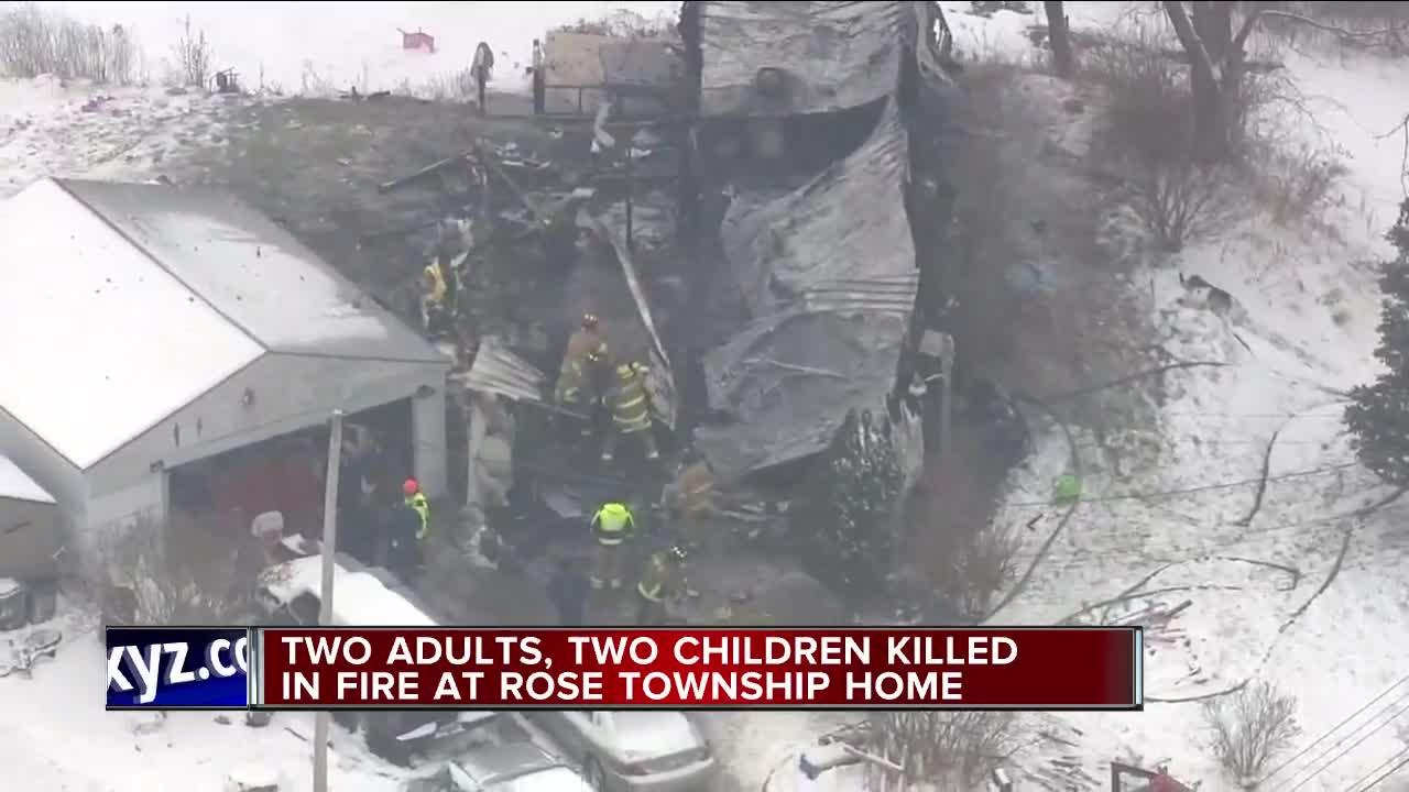 2 adults, 2 children dead in Rose Township mobile home fire