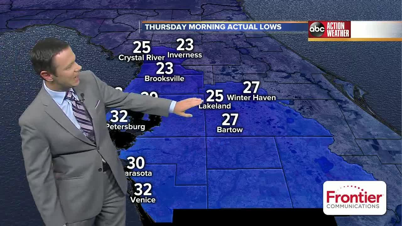 Tampa, St. Pete and Lakeland set record low temps on Thursday