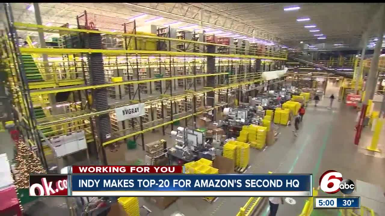 Encouraging economic news as Indianapolis makes top 20 for Amazon's second headquarters