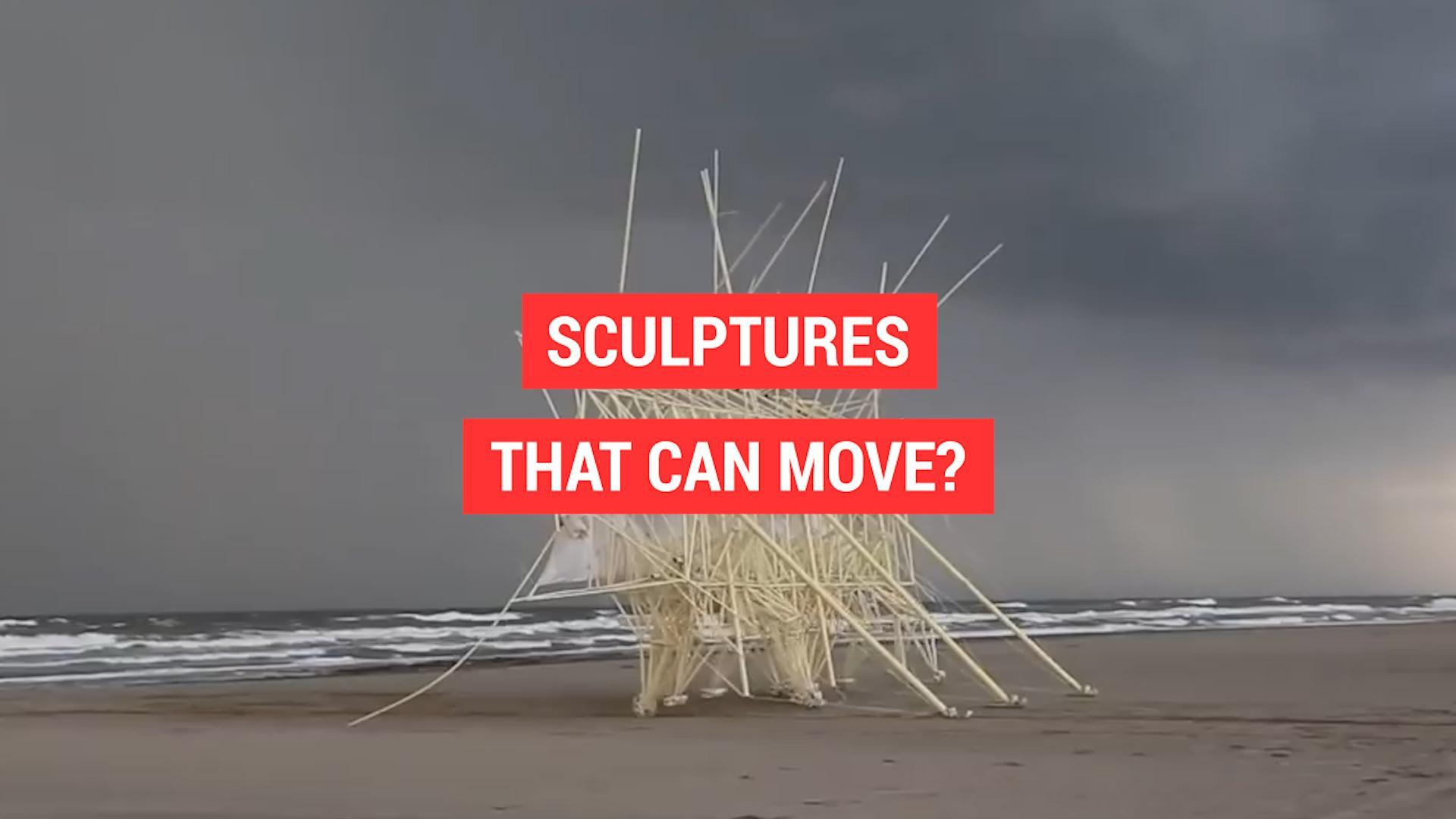 Moving sculptures on the beaches of The Netherlands