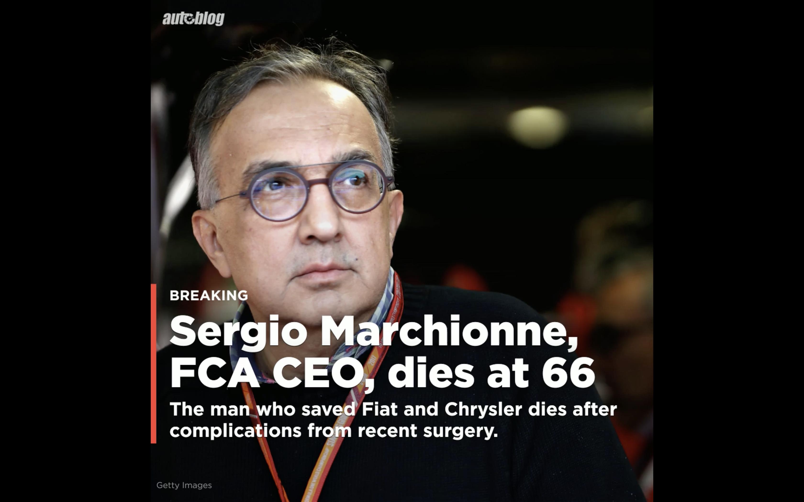 FCA Was Unaware Of CEO Sergio Marchionne S Illness Autoblog